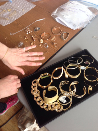 Gold and diamond jewelry on set today