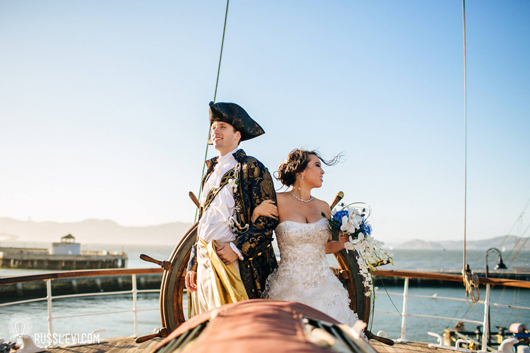 Carolyn Thamkul and husband Bryce marry in a pirate- and mermaid-theme wedding.