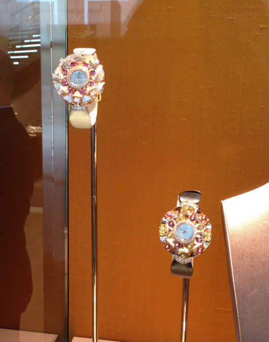 Bulgari gem watches in the window of their boutique in Manhattan