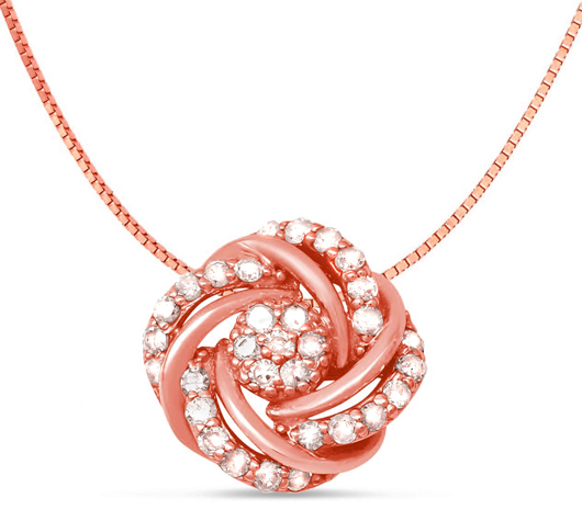 Pendant in 10k rose gold with diamonds  from the David Tutera for Fuzion Creations collection