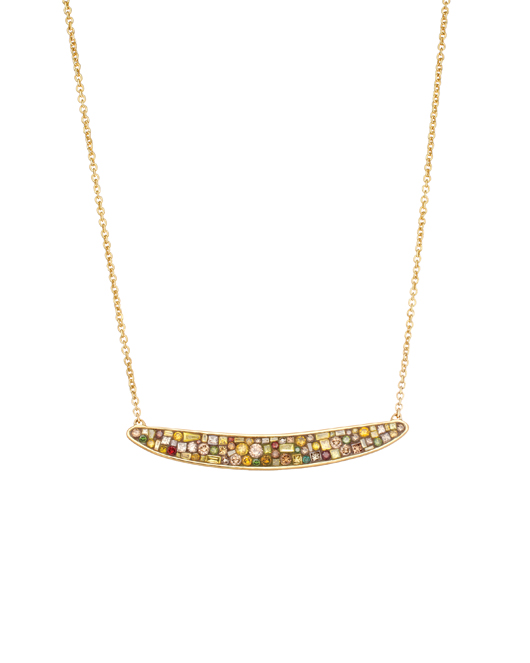 Pleve bar necklace in 18k gold with color-enhanced diamonds