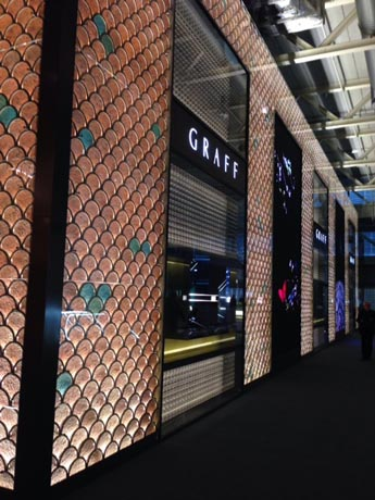 Graff's stunning booth in Hall 1.1 D51 featured windows filled with diamond-encrusted watches.