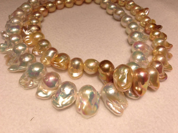Fireball bead-nucleated Dragon Curl pearls drilled horizontally to show best luster from Sea Hunt Pearls