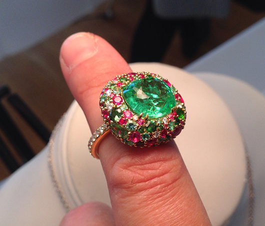 Firefly ring with paraiba tourmaline, rubies, and diamonds by Caroline Chartuni