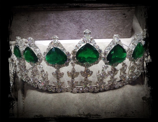 Diamond and emerald tiara by Pioneer Gems