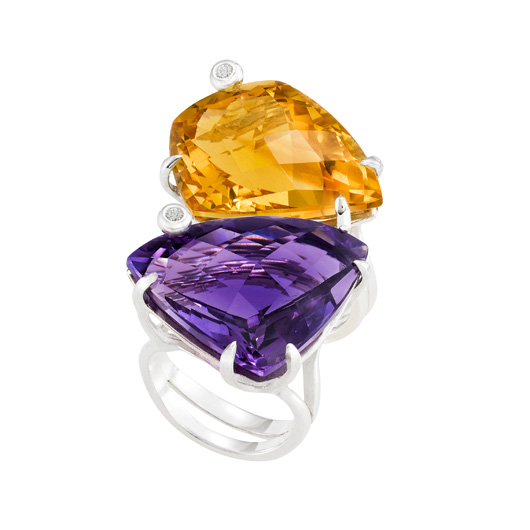 Marcia Budet stack rings with amethyst and citrine