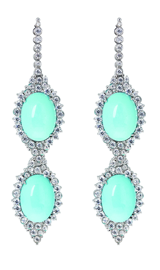 Lupita earrings in 18k gold with turquoise and diamonds from Carla Amorim