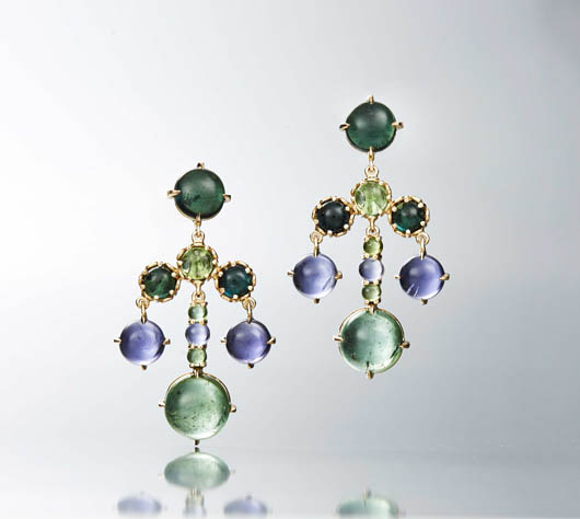 Czarina chandelier earrings in 18k yellow gold with green tourmaline and iolite by Daria de Konig