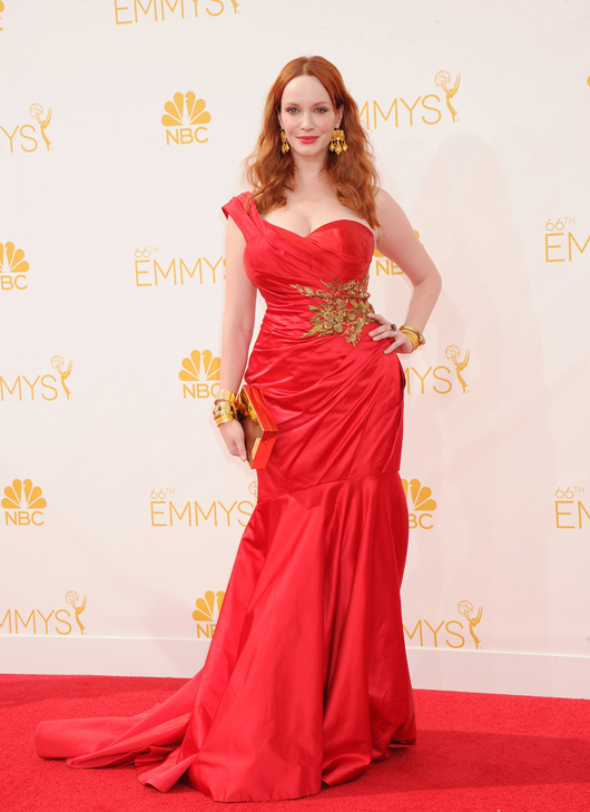 Christina Hendricks in gold jewelry from Neil Lane and Amrapali at the Emmy Awards
