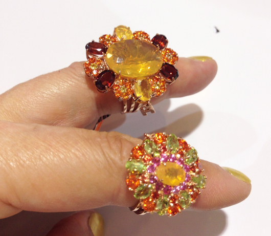 New cluster styles in gold with colored sapphires, opals, garnets, and peridot