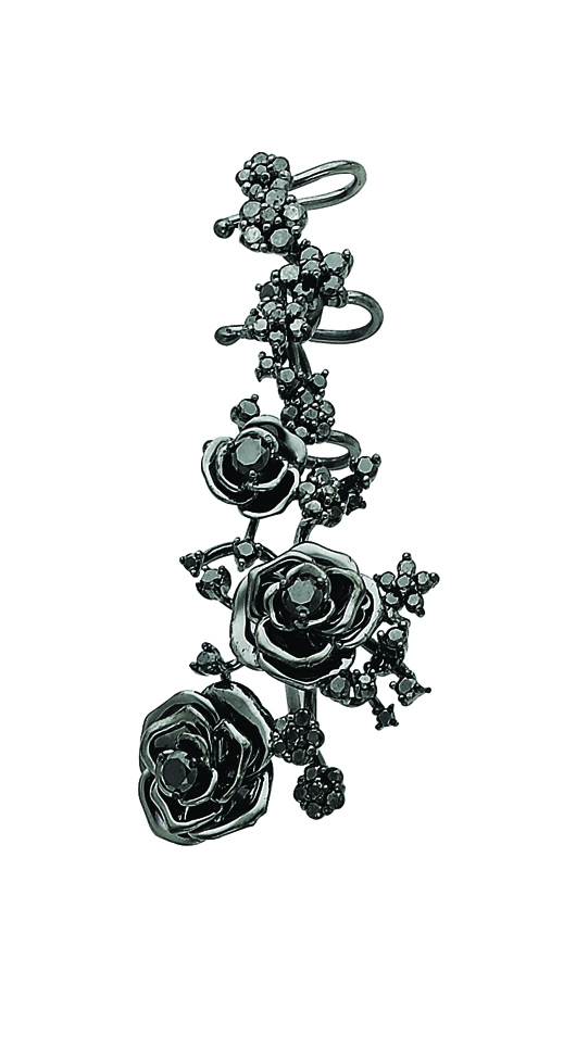 Colette ear cuff with black diamonds