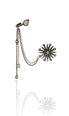 Colette stud earring with chain and ear cuff