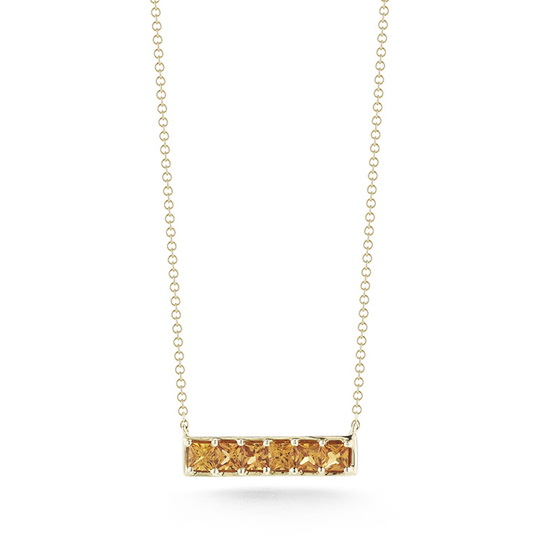 Dana Rebecca Designs' Allison Joy necklace in 14k gold with orange sapphires