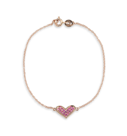 Dana Rebecca Designs heart bracelet in 14k gold with pink sapphires