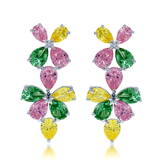 Colored CZ earrings in silver by Dani by Dani K