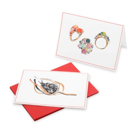 Daria de Konig's jewelry notecards are illustrated by Happy Menocal and are for sale for $20 for six