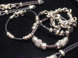 Bracelets in silver and leather by David Heston
