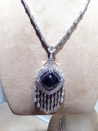 David Mor necklace with sapphire cabochon and diamonds