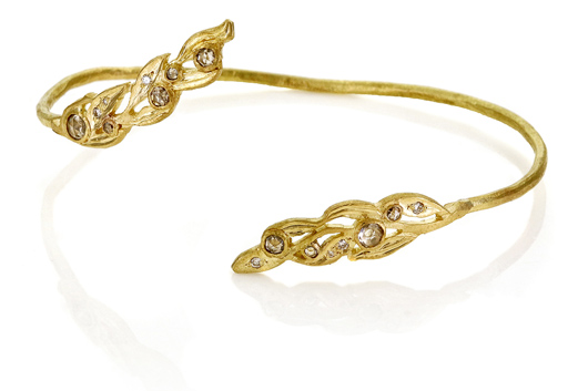 Vine cuff in 18k gold with diamonds by Dawes Design for Diamonds With A Story