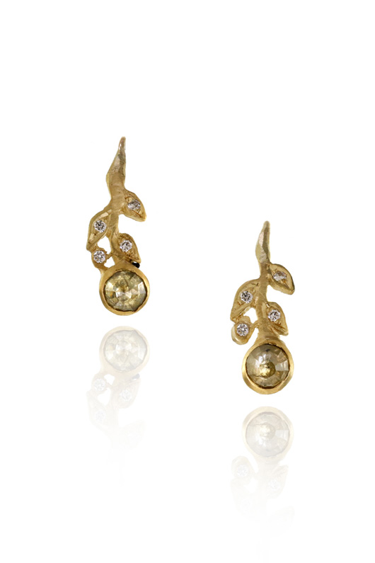Diamonds With A Story earrings in 18k gold with natural-color Rio Tinto diamonds by Jennifer Dawes