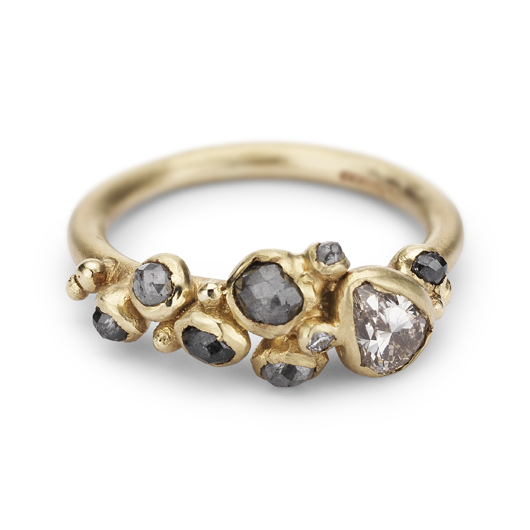 Cluster ring in 14k gold with diamonds by Ruth Tomlinson