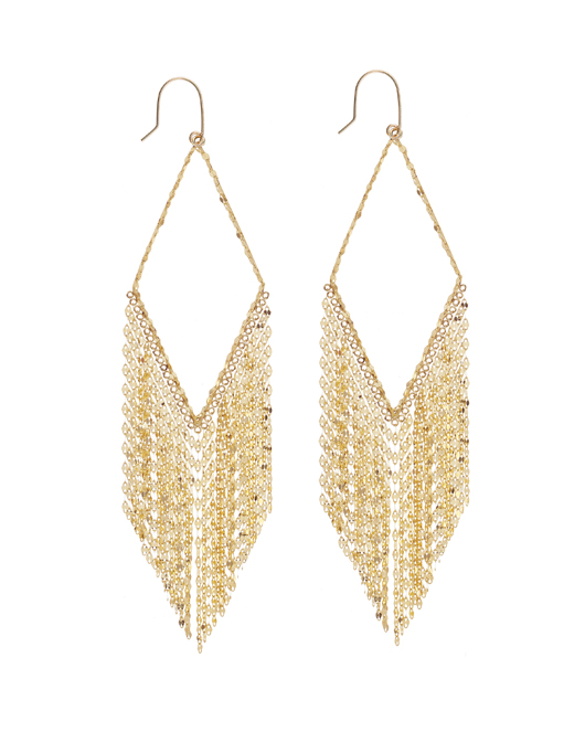 Diamond Fringe earrings in 14k gold by Lana Jewelry