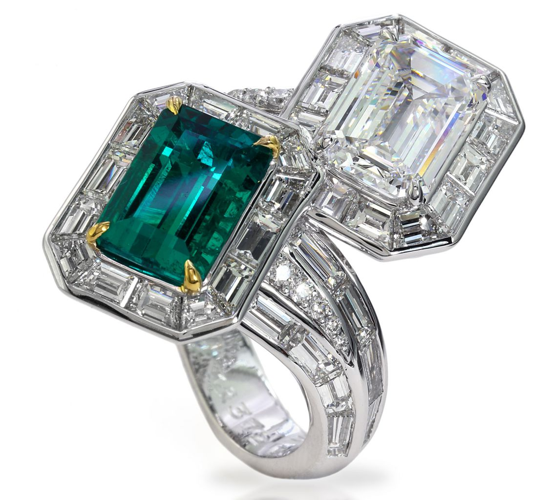 David Mor emerald and diamond bypass ring