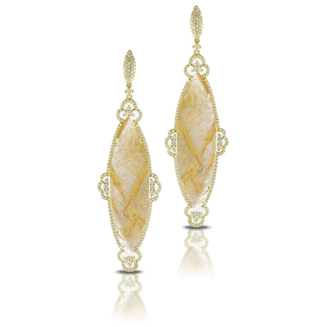 Drop earrings in 18k gold with rutilated quartz and diamonds by Doves
