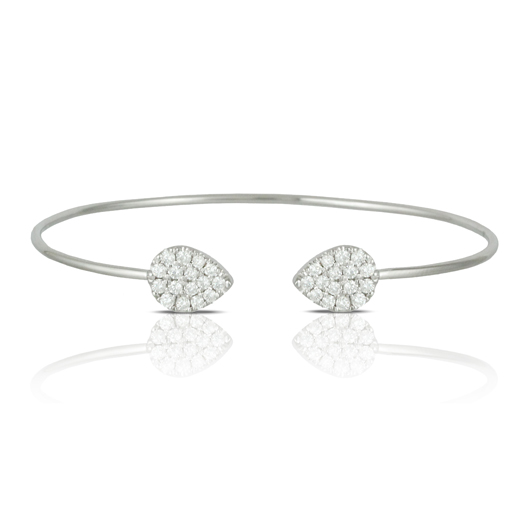 Doves open cuff in 18k gold wtih diamonds