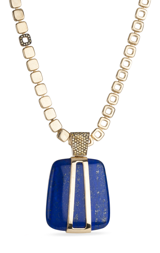 Pendant necklace in 18k gold with lapis and diamonds by Bochic