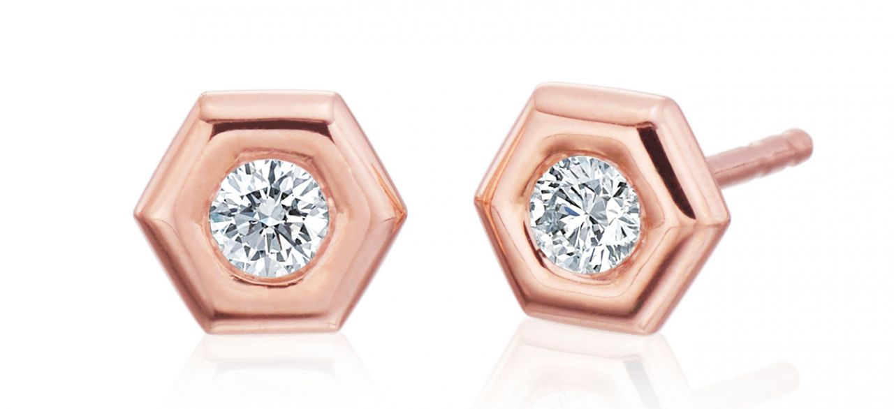 Gumuchian Mini B diamond stud earrings