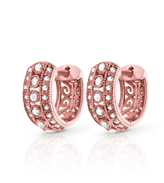 Earrings in 10k gold with diamonds from the David Tutera for Fuzion Creations collection