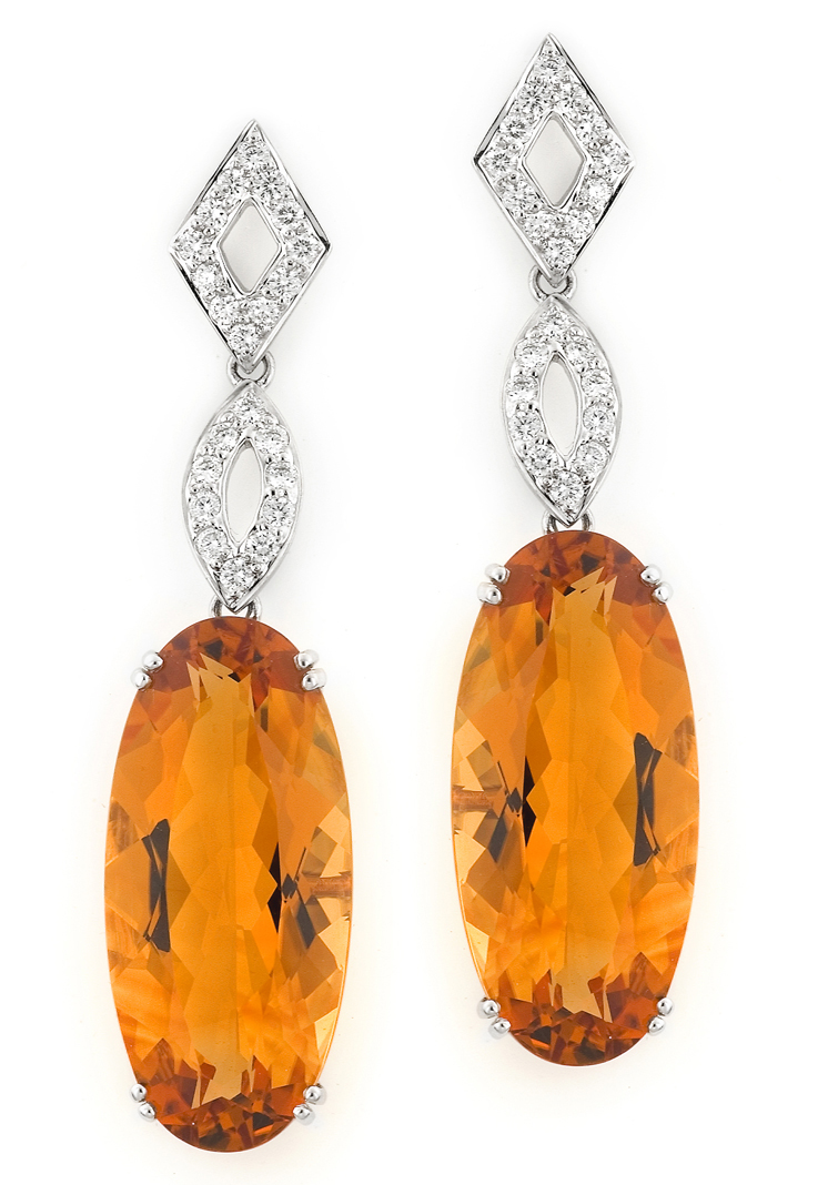 Akiva Gil citrine and diamond drop earrings
