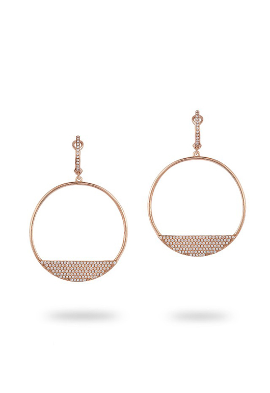 Geo sideways-set hoops in 14k rose gold with diamonds by EFFY