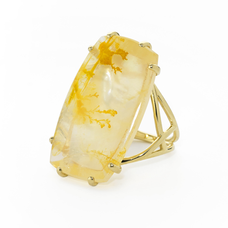 Elizabeth Showers gold and dendritic agate ring