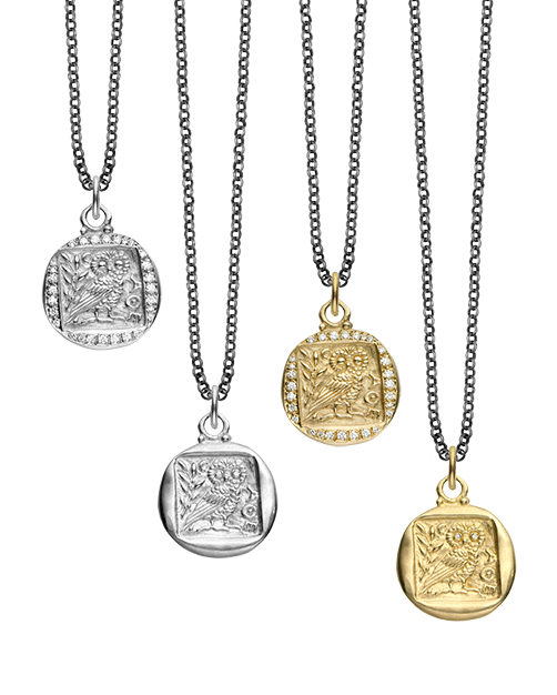 Erica Molinari Owl pendant necklaces in gold and silver