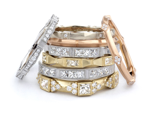 Erika Winter's new Fidelia collection of commitment bands in 18k gold with French-cut diamonds