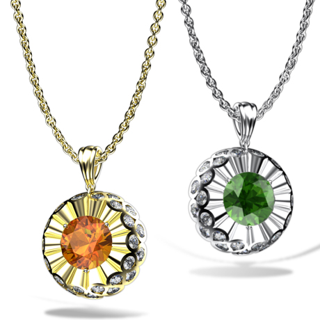 Erik Stewart colored stone pendant necklaces