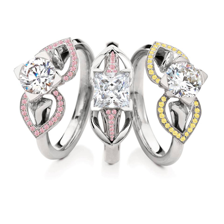 Rings with natural colored diamonds from Maevona's Eriskay collection