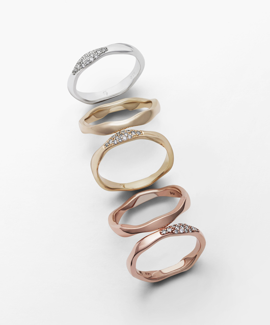 Eternal Waves rings in silver and gold with diamonds from Swarovski's new fine jewelry line