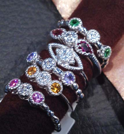 Silver rings with rhodium and gemstones from Euphoria New York