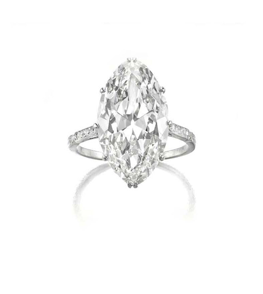 Siegelson Navette-cut diamond ring in platinum circa 1920 via Van Cleef and Arpels