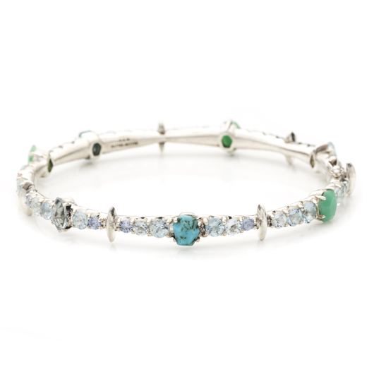 Tennis bracelet in silver with turquoise, quartz, aquamarine, and blue sapphires from Alexis Bittar