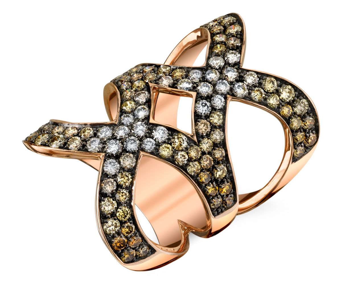 Sylvie Collection brown diamond double X ring
