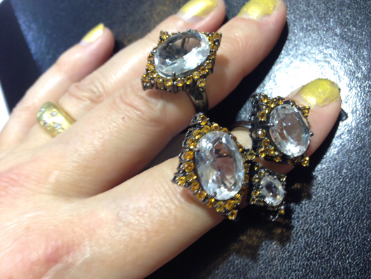 Two-finger ring with black rhdoium, citrine, and quartz from the Fause Haten line for Guilherme Duque