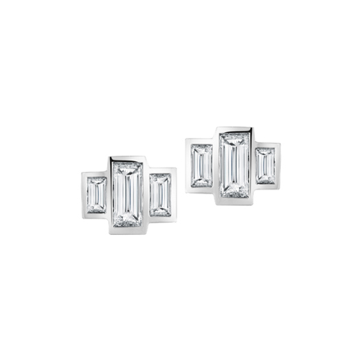 Triple Baguette diamond earrings by Finn