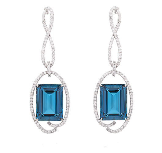 Gold earrings with London blue topaz and diamonds from Vianna