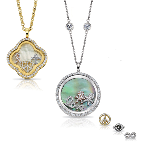 Four Keeps locket necklaces with charms by S & R Designs