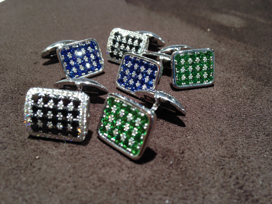 Gold, diamond, and gemstone cufflinks from Frederic Sage