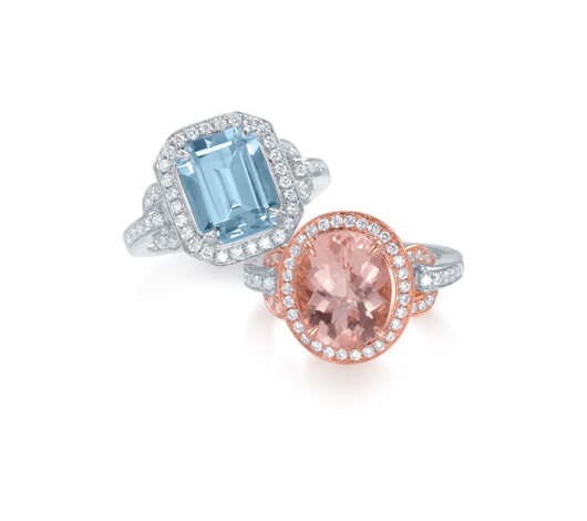 Morganite and aquamarine rings by Frederic Sage